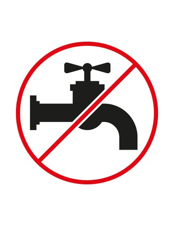 Tap water usage not allowed black white red vector sign ban symbol