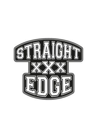 straight edge hardcore movement black white print ready sticker sign symbol Иллюстрация