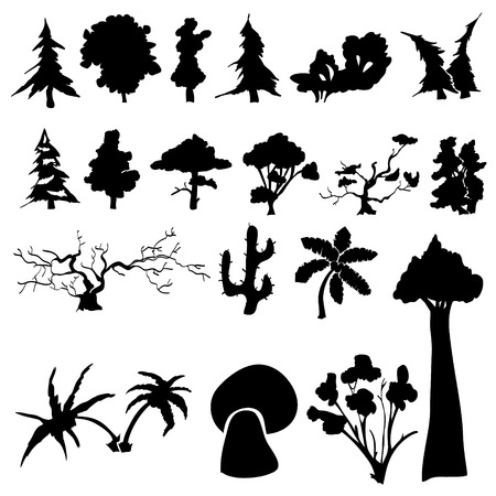 bushes: Set of silhouettes of trees, bushes and grass Illustration