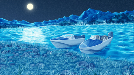 Artistic landscape with the image of motor boats and river Stock Photo