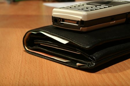 Wallet and mobile Stock Photo