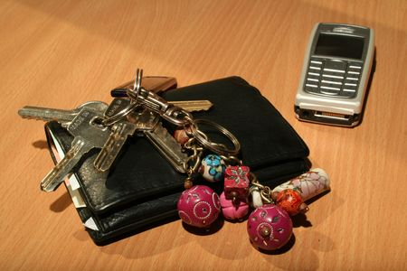 Wallet, keys and mobile Stock Photo