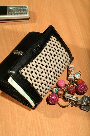 doorkey: Wallet, keys and mobile Stock Photo
