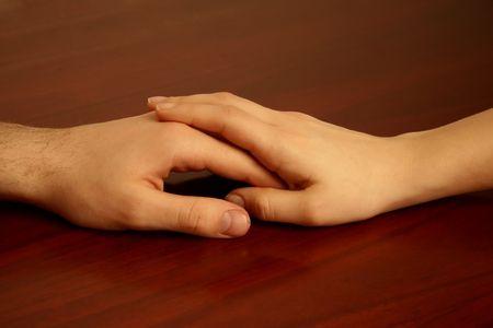 Hands touching Stock Photo