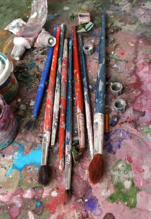 Closeup of dirty brushes