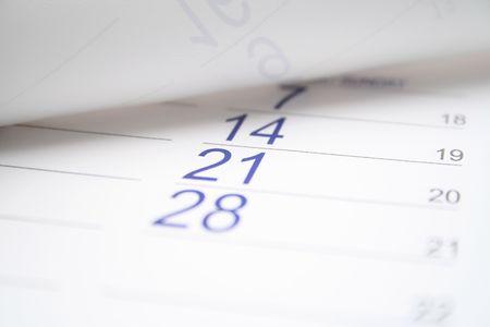 Very bright calendar closeup