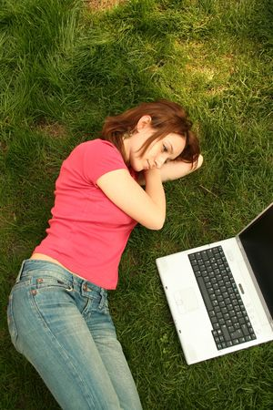 test deadline: Student with laptop in the campus Stock Photo
