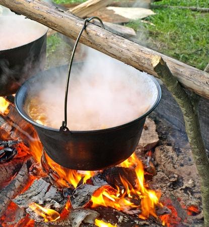 caldron: Boiling cauldron Stock Photo