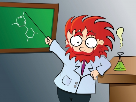 Chemistry teacher in class Vector