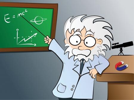 whiteboard: Natuurkunde leraar in de klas Stock Illustratie