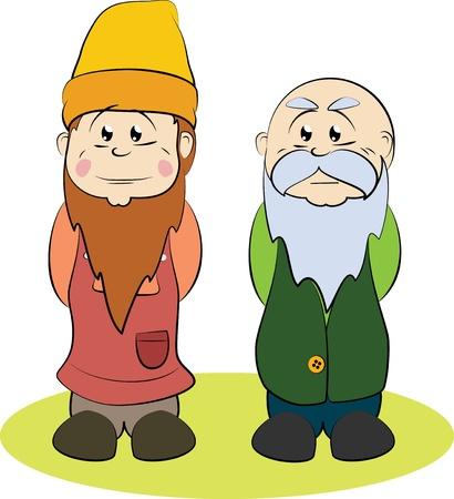 gnomos: Dos gnomos, uno más viejo y uno joven Vectores