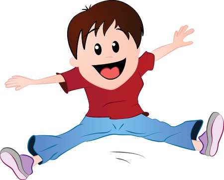 Little boy jumping in excitement Vector