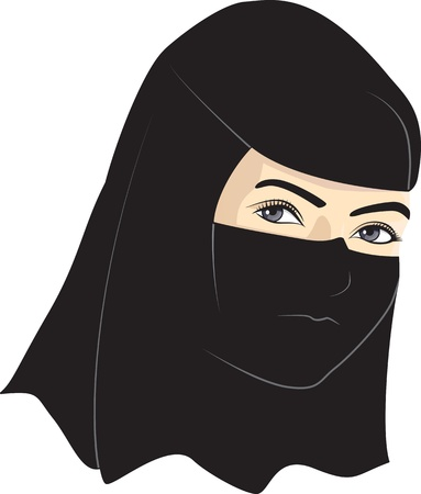 niqab: Young woman with veil over her head Illustration