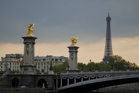 Paris and the river Seine at sunset photo