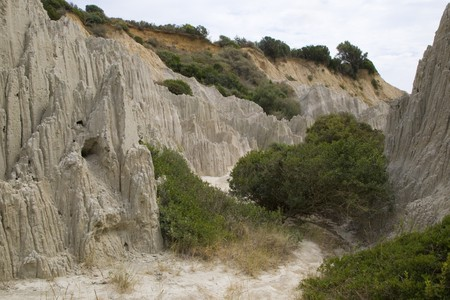 holiday destination: Eroded Clay Formations, Zakynthos Island - summer holiday destination in Greece Stock Photo