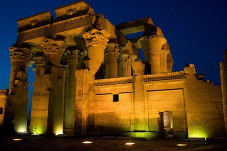 antiquity: The illuminated Temple of Sobek in Kom Ombo on the Nile River, Egypt Stock Photo