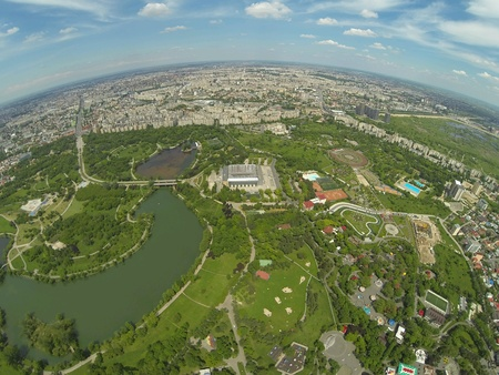 eye: Birds Eye View over Bucharest Stock Photo