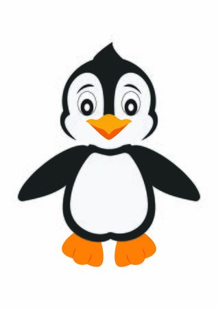 Cartoon Penguin. Smiling Penguin isolated on white background