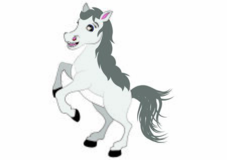 Cartoon White Horse. Vector Horse Illustration