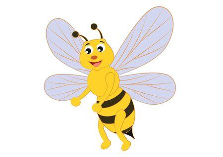 Funny Cartoon Bee. Vector insect. Clipart Bee Vektoros illusztráció