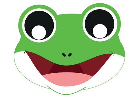 Icon of Cute Frog Face. Animals. Vector Frog Face