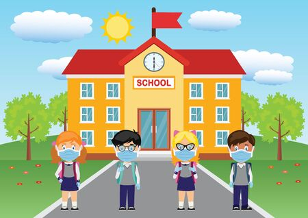 Vector Pupils wearing masks and gloves and school building