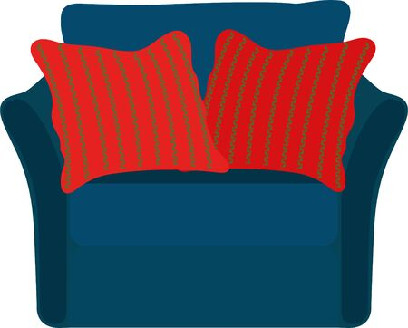 Armchair with two red pillows