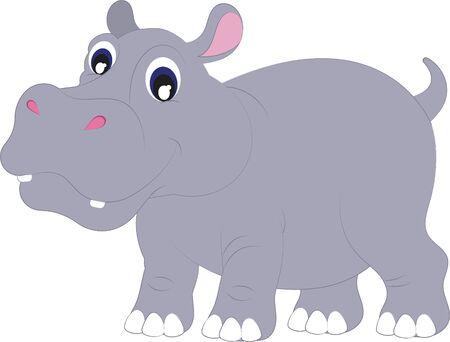 Cartoon Hippopotamus. Vector Hippopotamus