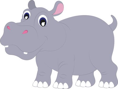Cartoon Hippopotamus. Vector Hippopotamus