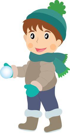 Clipart little boy holding a snowball Ilustracja