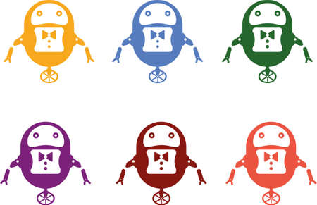 Illustration of six robots in different colors Illusztráció