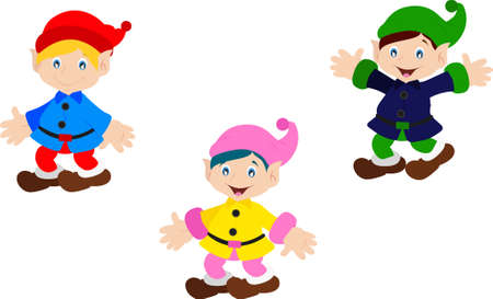 Three Dwarfs in different positions Vettoriali