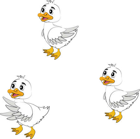 Three cartoons ducklings