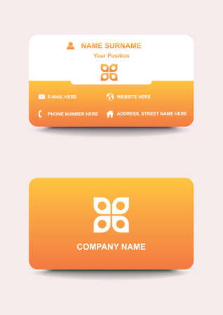 Business Card. Modern Yellow and white business card template with logo