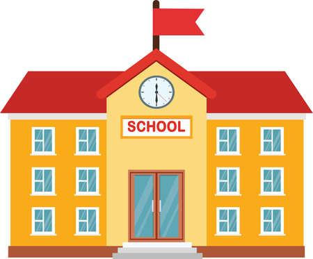 Vector illustration of High school building. Vector School Building