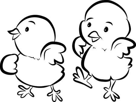 Black and White Cartoon Chicks