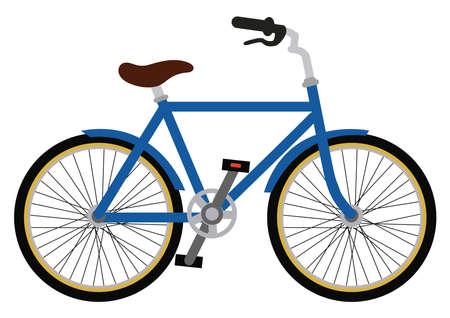 Blue City bicycle vector illustration. Bike isolated on white background Векторная Иллюстрация