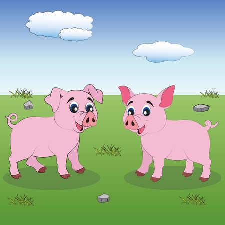 Two little pigs. Cute Cartoon Pigs Illustration