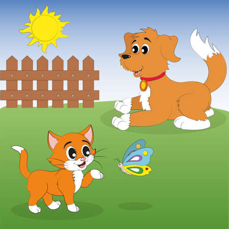 Kitten and puppy playing in the sun. Cat and Dog. Butterfly