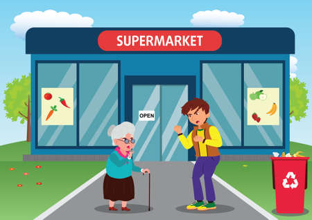 The rude behavior of a boy towards an old woman in front of a Supermarket Illustration