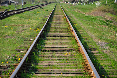 wood railroad: Rusty rails on rotten wooden sleepers with grass growing through these