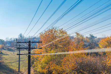 telegraph hill: Telegraph wires passing through the frame under blue sky in autumn.