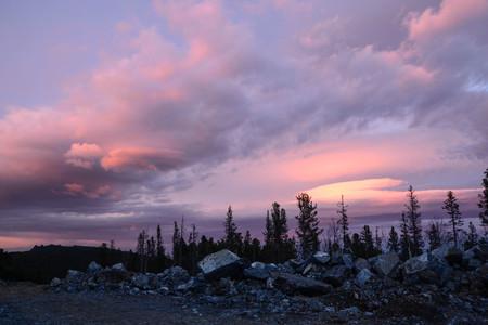 Sunset on the slope of the Serebryansky Stone