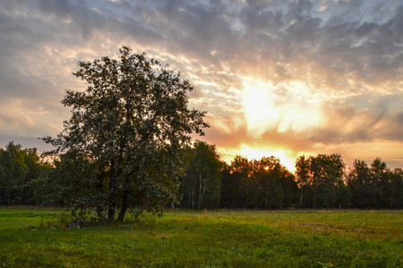 Sunset in Bashkortostan Stock Photo