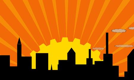 bilding: rising sun and industrial city Illustration