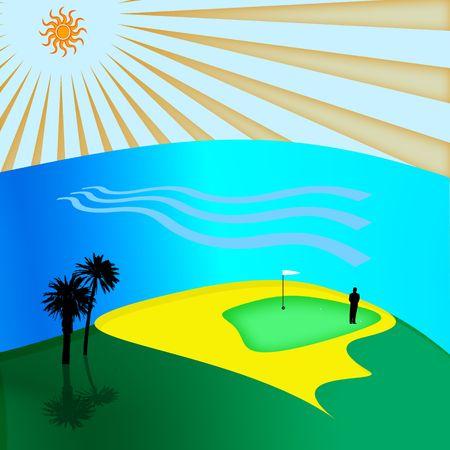 illustration of golf club near ocean Stock Photo