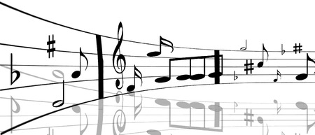illustration of music notes with shadow Stock Vector - 6365077
