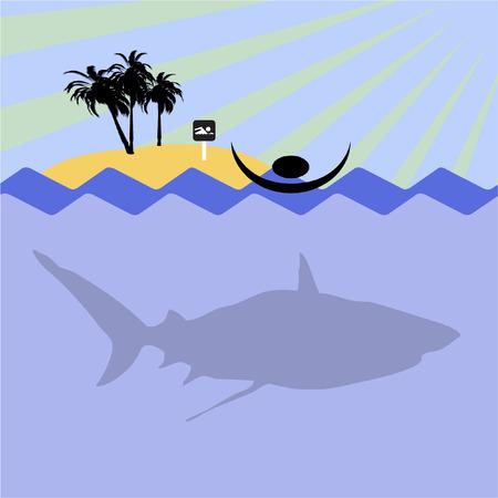 swiming: illustration of swiming men in sea and shark