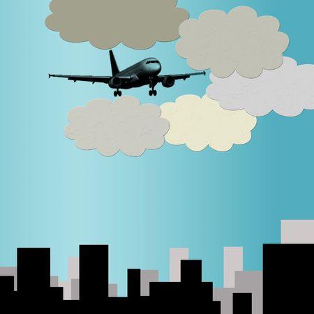 bilding: illustration of plane flying  over city, blue background Stock Photo