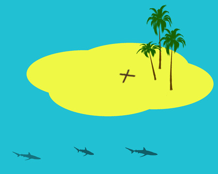 illustration of island withhidden  treasure with sharks